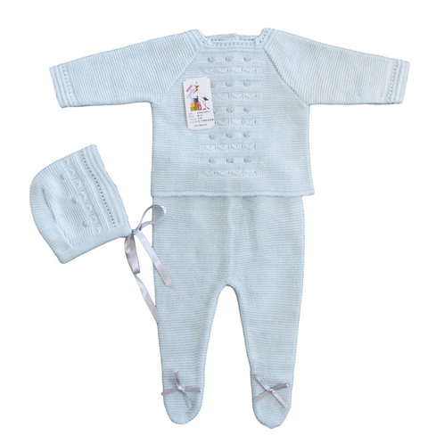 Creaciones Gavidia Pale Blue & Grey Knitted 3 Piece Set