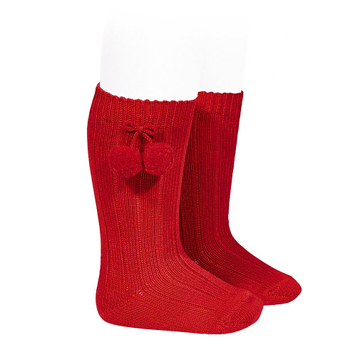 Condor 3015/2 Red Pom Pom Knee High Sock