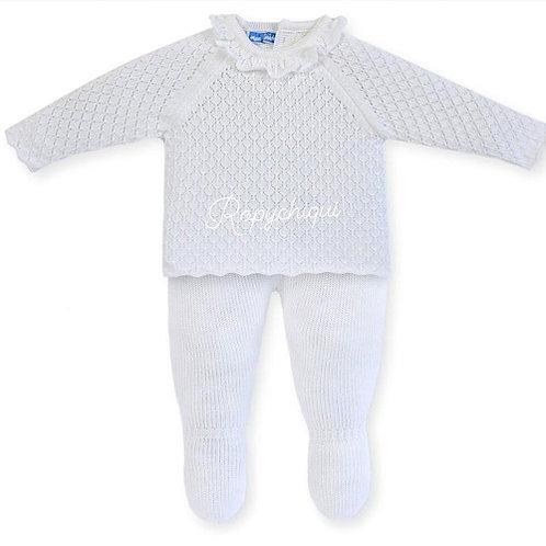 Mac Ilusion Ruffle Knitted 2 Pc Set   White