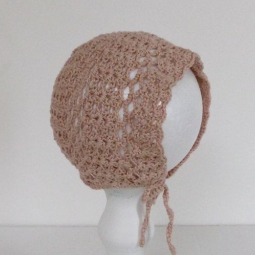 Dusty Pink Cotton Crochet Bonnet