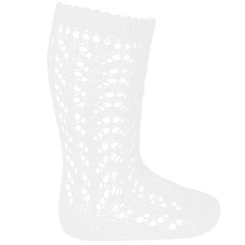 Condor 2518/2 Plain Openwork Knee High Socks | White