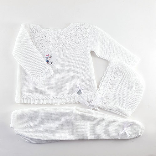 Creaciones Gavidia White with Lace Neck Detail 3 Pc Set | 12m