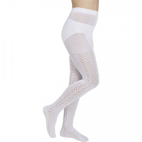 Girl wearing Ysabel Mora 56009 White Openwork Patterned Tights