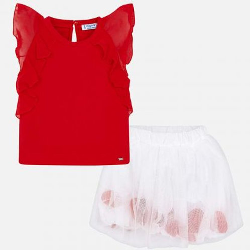 Mayoral White Petal Skirt & Red Top Set Front