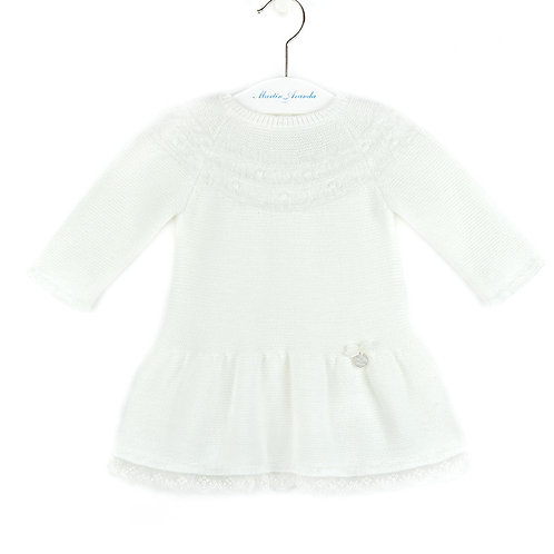 Martin Aranda Cream Knitted Dress w/ Lace | 9m