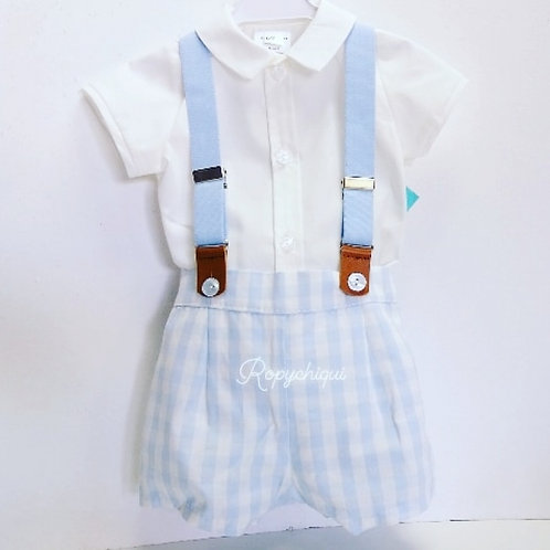 Baby-Ferr Pale Blue Check Shirt & Shorts Set