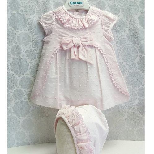 Cocote Pale Pink Hail Spot Dress & Bonnet