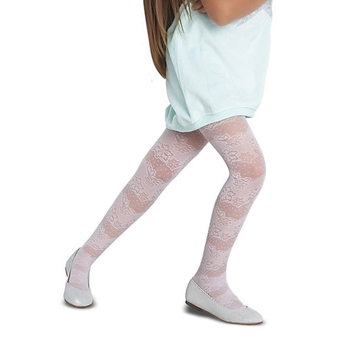 Girl wearing Penti Meri White Tights