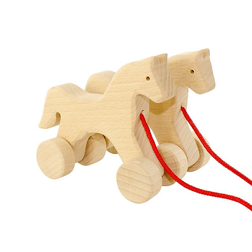 Wooden Pull Along Toy | Archer & Dawn Horse Duo