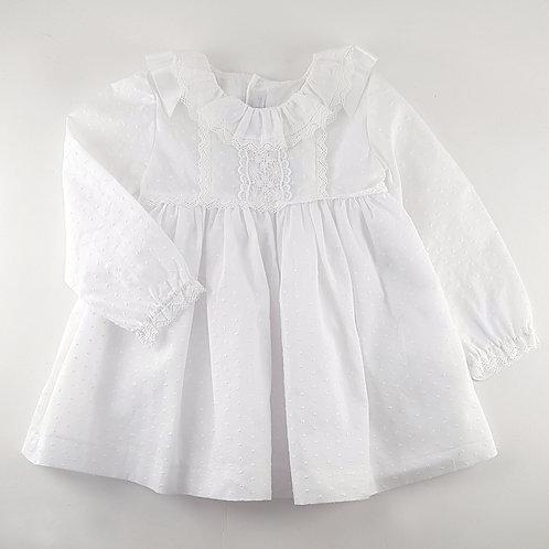 Martin Aranda White Dress with Frill Collar | 24m