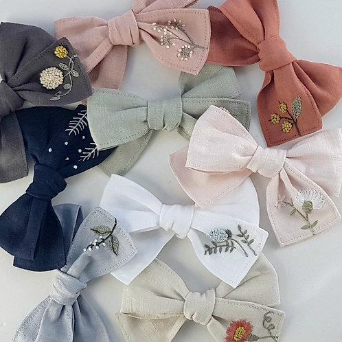 Bramble Linen Bow Clip or Headband | Custom Made