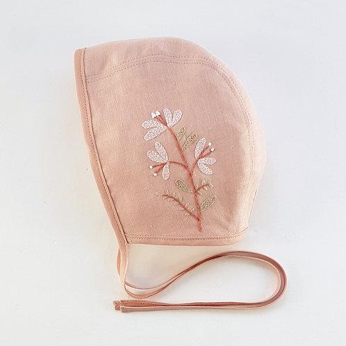 "Bramble ""Grace Pink"" Vintage Blush Linen Bonnet | 18-36 m"