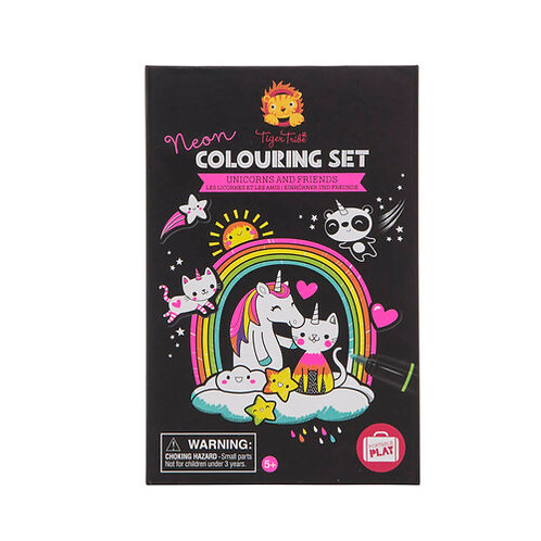 Tiger Tribe Neon Colouring Set - Unicorns & Friends