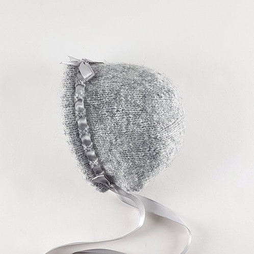 Hand Knitted Grey Baby Bonnet | Small