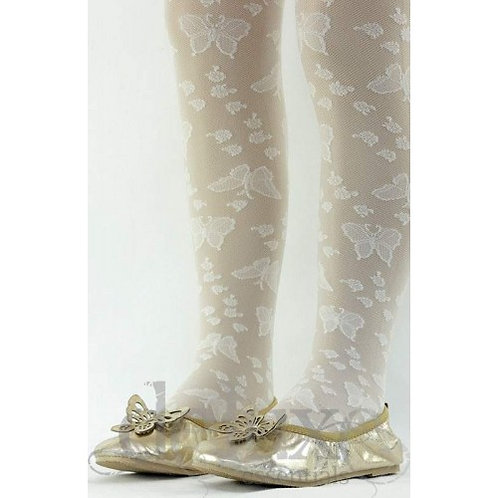 Girls legs wearing Skinny Sams Cream Butterfly Lace Tight with Shoes