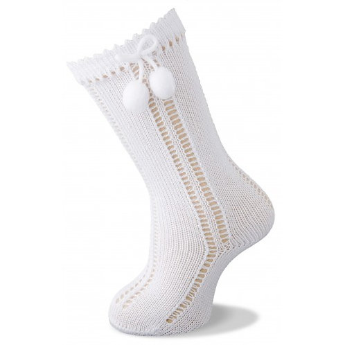 Carlomagno 2317 White Pom Pom Knee High Sock