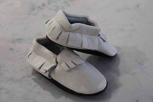 Coco & Marc White Italian Leather Moccasin | 6-12 m