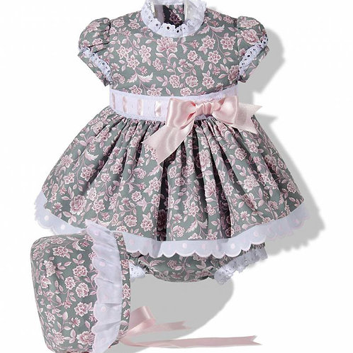 Green & Pink Floral Spanish Dress with Bonnet and Bloomers