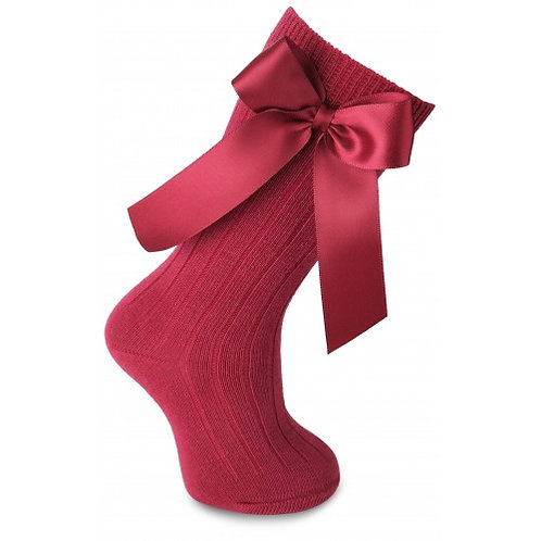 Carlomagno 2949 Red Ribbed Bow Knee High Sock