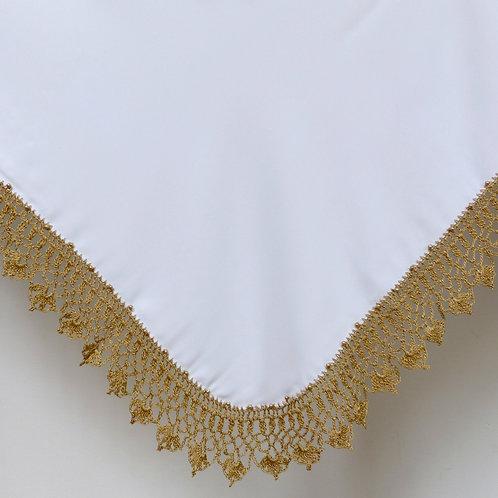 Crochet Old Gold Beaded Wrap & Pillowcase Set