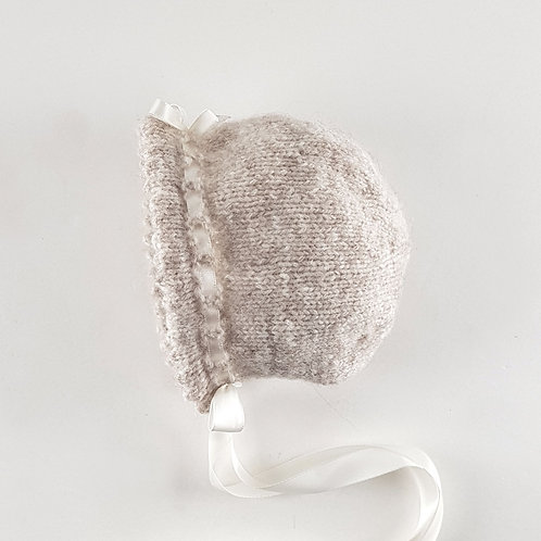 Hand Knitted Beige Baby Bonnet | Small