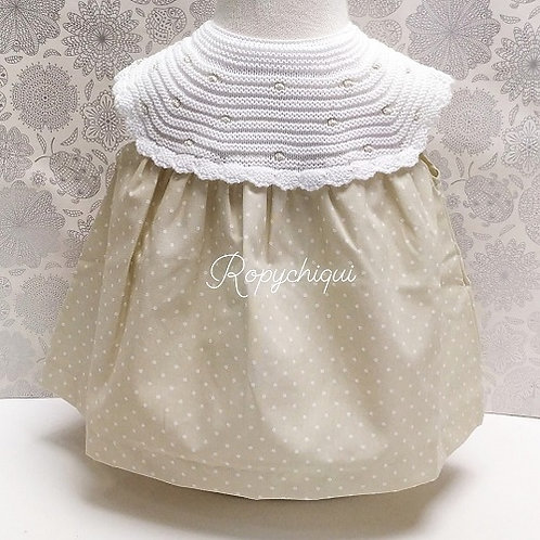PCS Baby Beige Dress with Knitted Collar | NB