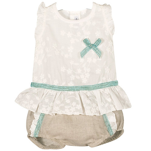 Calamaro White Blouse with Green Bow & Linen Short Set