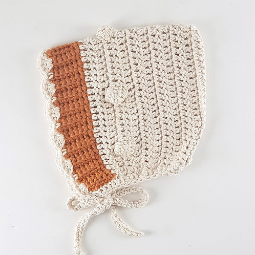 Cream & Burnt Orange Crochet Vintage Style Pixie Bonnet | Large