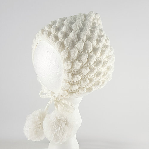 White Cotton Crochet Pixie Bonnet w/ Pom Poms | Medium