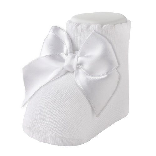 Carlomagno 2400 White Cotton Bow Bootie Newborn