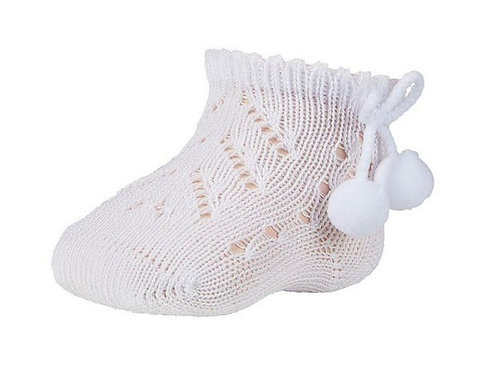 Ysabel Mora Openwork Newborn Socks w/ Pom Poms