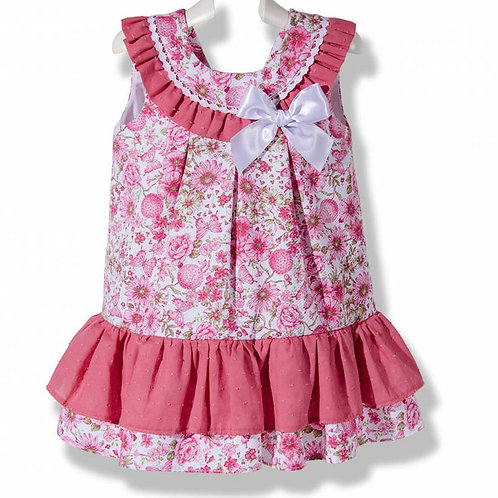 Pink Floral Pique Spanish Dress with White Bow Front