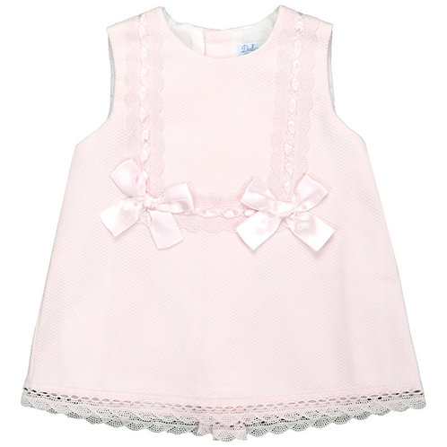Spanish Dulce de Fresa Pink Pique with Bow and Ribbon Dress