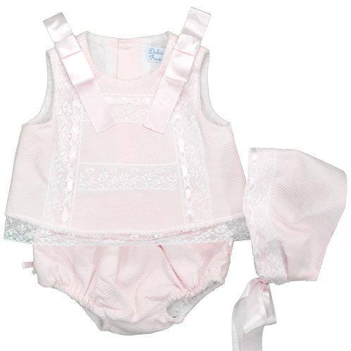 Spanish Dulce de Fresa Pink Pique Dress, Bonnet & Bloomers Set