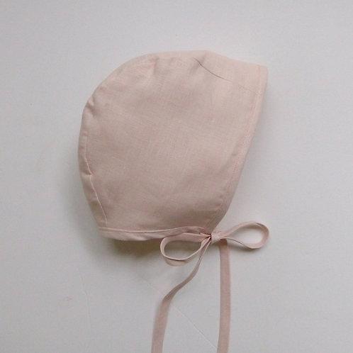 Plain Linen Bonnet Shell Pink