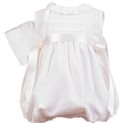Misha Baby Cream Ruffle Romper w/ Bonnet | 6m