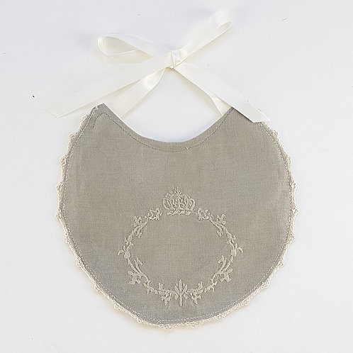 Vintage Style Embroidered Linen Bib