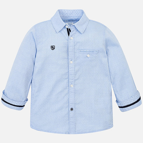 Spanish Mayoral Long Sleeve Pale Blue Shirt Front