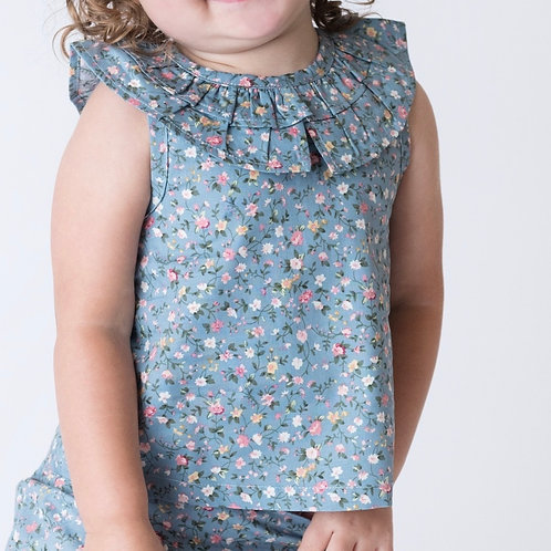 Love Henry Polly Blue Floral Top
