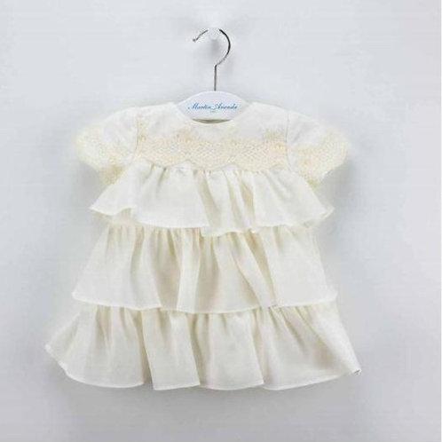 Martin Aranda Cream Ruffle Layered Dress