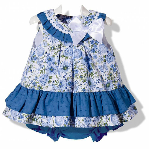 Blue Floral Pique Spanish Dress with Blue Bloomers