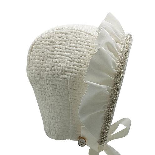 Ivory Geo Brocade Bonnet Cap Style Side View
