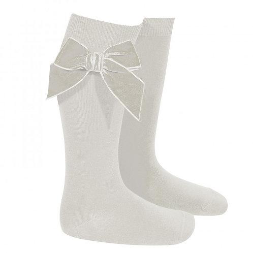 Condor 2489/2 Velvet Bow Knee High Sock