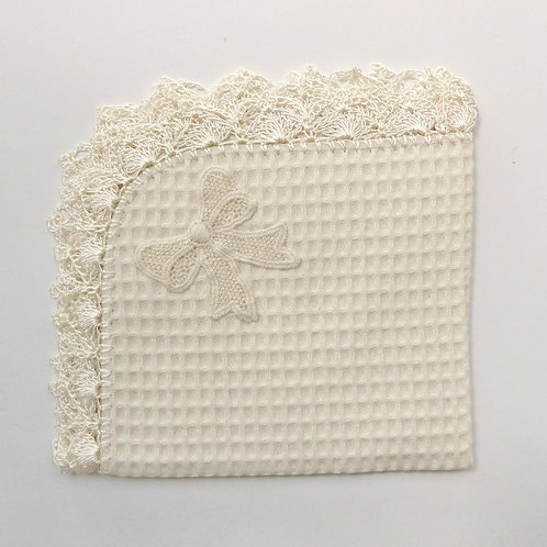 Crochet Edging with Applique Waffle Burp Cloth