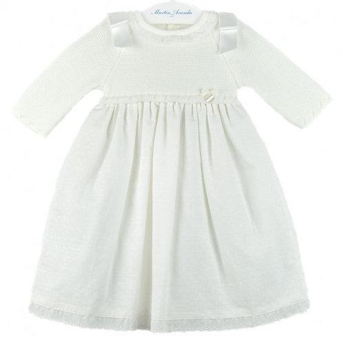 Martin Aranda Cream Spot Dress w/ Knitted Bodice | 3m