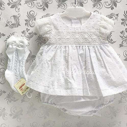 Anacastel White Hailspot Dress w/ Bloomers | 12m