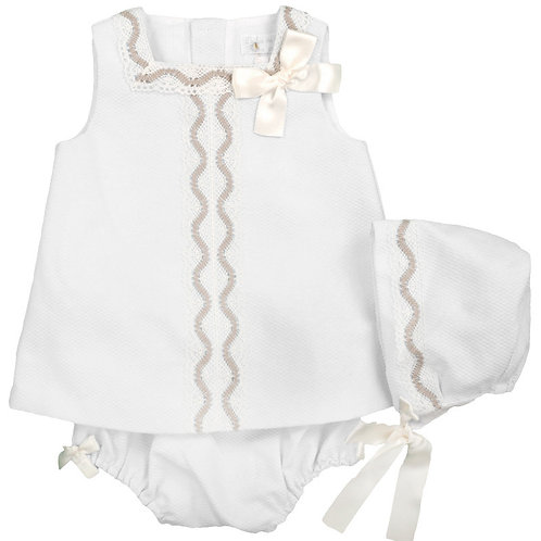 Dulce de Fresa White Pique Dress Bonnet & Bloomers Set