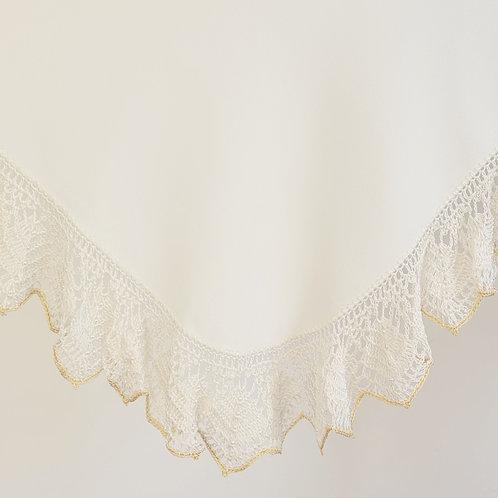 Crochet Gold/Cream & Cream Satin Wrap & Pillowcase