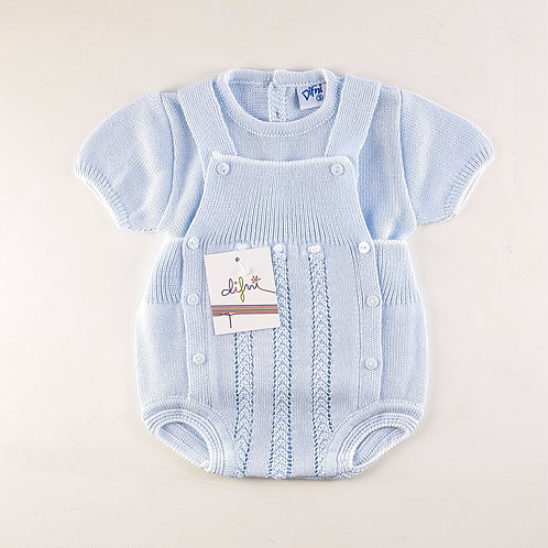 Difni Pale Blue Knitted Top & Overall Set | 12m