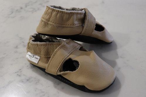 Coco & Marc Sand Italian Leather T-Bar